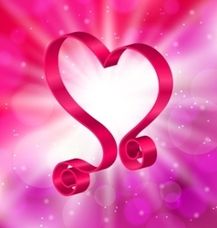 Looping Pink Ribbon in Form Heart for Happy vector image