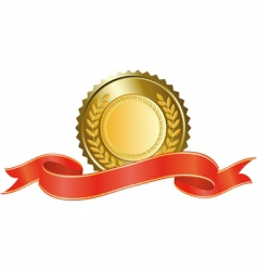 gold medal and red ribbon vector image vector image