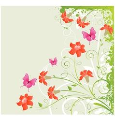 Grunge floral corner vector image vector image