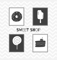 hand drawn silhouettes sweet shop posters vector image vector image