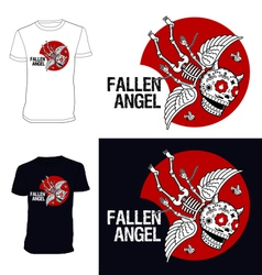 Skeletons T shirt Fallen angel vector image vector image
