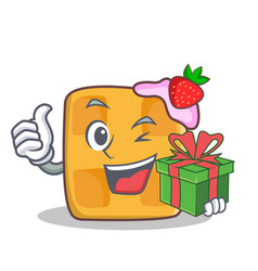 waffle character cartoon design with gift vector image vector image