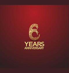 6 years golden anniversary logotype vector