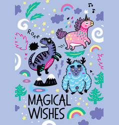 adorable print in the childish style with unicorn vector image