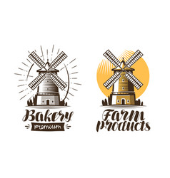 ancient windmill mill logo or label agriculture vector image