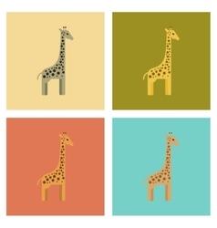 Assembly flat icons nature cartoon giraffe vector