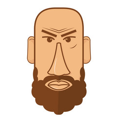 Avatar of bald male with beard vector