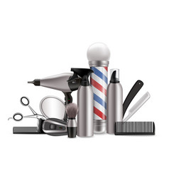 barbers tools and equipment composition vector image