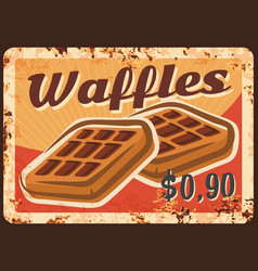 belgian waffles rusty metal plate wafers vector image