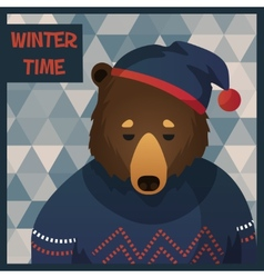 Big brown hipster bear in sweater vector image