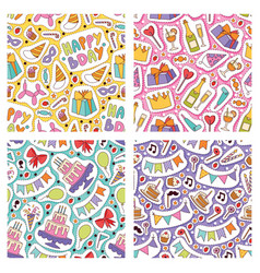 birthday party seamless pattern anniversary vector image