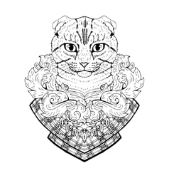 Black and white animal cat head abstract art vector