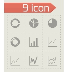 black diagram icon set vector image