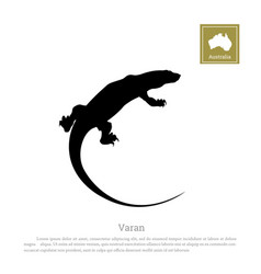 black silhouette of varan animals of australia vector image