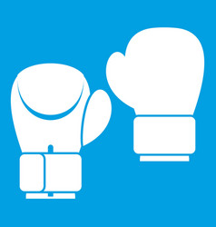 boxing gloves icon white vector image