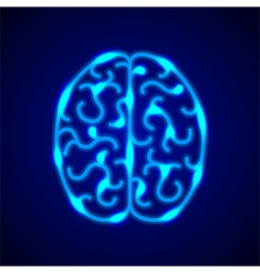 Brain from blue neon lines background vector image