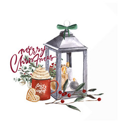 bright watercolor merry christmas card with elemen vector image