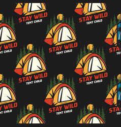 camping seamless pattern with tent and trees vector image