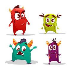 Cartoon cute cheerful monster set vector