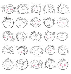 Cartoon face of girl set vector image