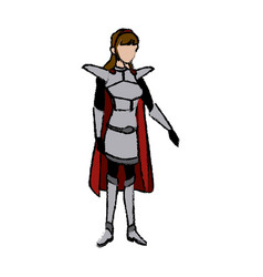 Cartoon warrior princess woman in costume with vector