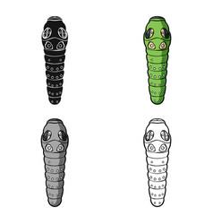 caterpillar icon in cartoon style isolated on vector image