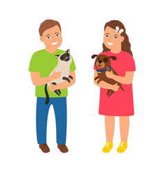 children with pets vector image