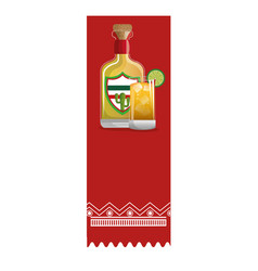 Colorful banner with bottle tequila and glass cup vector