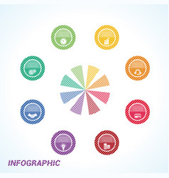 colourful striped circles template infographics vector image