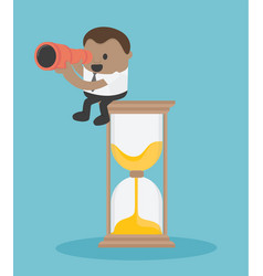 concept business sitting on a clock with a vector image