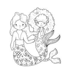 Couple mermaids fairytale characters vector