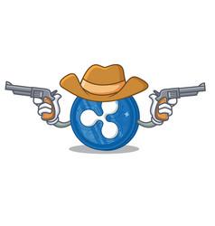Cowboy ripple coin character cartoon vector
