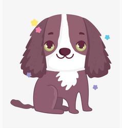 cute brown dog domestic cartoon animal pets vector image