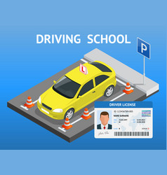 Design concept driving school or learning to drive vector