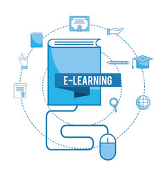 Elearning knowledge with pencil and mouse vector