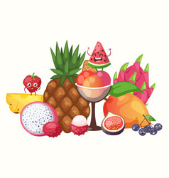 exotic tropical fruits vector image