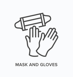 face mask and gloves flat line icon vector image