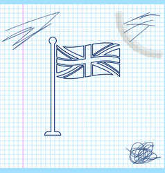flag great britain on flagpole line sketch icon vector image