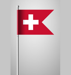 Flag of switzerland national flag on flagpole vector