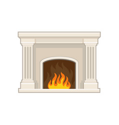 flat icon of classic marble fireplace with vector image