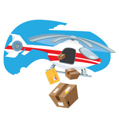flying helicopter delivering boxes and packages vector image