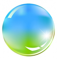 green and blue shiny sphere vector image