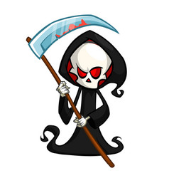 grim reaper cartoon character with scythe isolated vector image