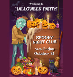 halloween party invitation zombie sweets treats vector image