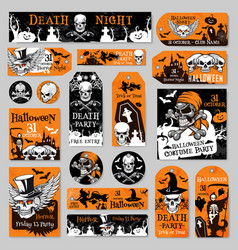 halloween tag and label fot holiday party design vector image