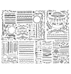hand drawing doodle page decoration set vector image