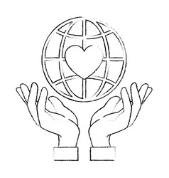 hands human protection with world planet and heart vector image