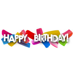 Happy birthday banner with brush strokes vector