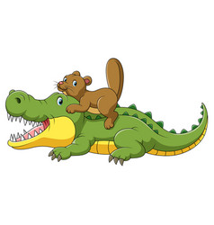 Happy crocodile and cute beaver cartoon vector