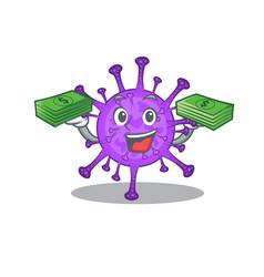 Happy face bovine coronavirus having money on hand vector